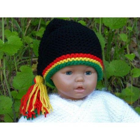 a1d3169bd03a Bonnet lutin Rasta pour bébé avec gland.