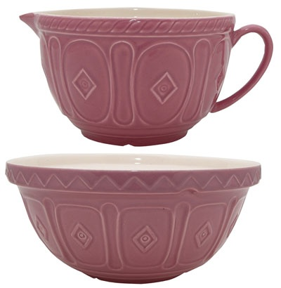Traditional mixing bowl with a purple twist.