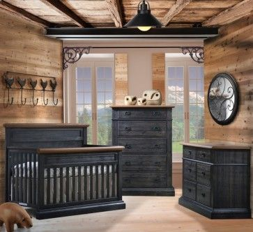 Natart Cortina 3 Piece Baby Nursery Set in Black Chalet/Cognac: This European inspired farmhouse-style furniture transports you back in time and evokes a nostalgic feeling of 'old Europe' where each piece of furniture in the home was meticulously hand-crafted by seasoned artisans using the natural elements of wood and metal. Cortina is offered in seven color combinations. #nursery #baby