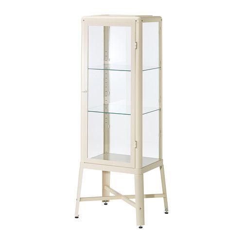IKEA - FABRIKÖR, Vitrinskåp, beige, , Med ett vitrinskåp kan du både visa upp och skydda dina glas eller din favoritsamling.Du kan enkelt anpassa höjden efter det du behöver förvara eftersom hyllplanen är justerbara.Skåpet kan användas fristående och behöver inte fästas i väggen.Du kan enkelt komplettera vitrinskåpet med integrerad belysning eftersom det är förberett för sladdar.