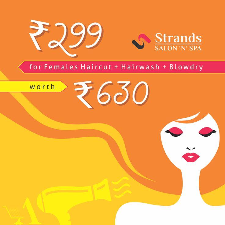#AmazeDealOfTheDay      Rs.299 for  #Female  Haircut +  #Hairwash    +  #Blowdry  Worth Rs.630 at  #StrandsSalon  'N'Spa  Last minute deals,   #special   offers Visit - www.amazedeal.in #AmazeDeal   #Deals     #Offers     #salon     #spa     #panchkula     #mohali #zirakpur     #salondeals     #spadeals     #massage     #haircut