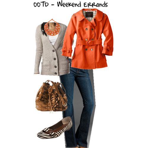 Fall casual: Shoes, Style, Orange Coats, Clothing, Colors, Fall Outfits, Fall Fashion, Trench Coats, Orange Jackets