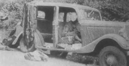 The deaths of Bonnie & Clyde at the hands of the lawmen