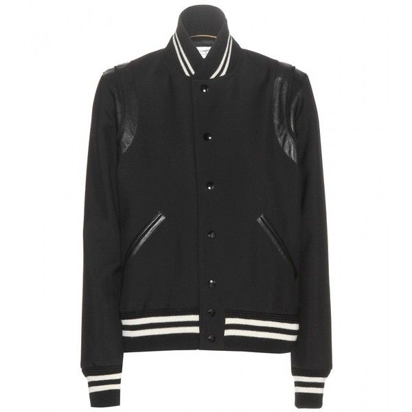 Saint Laurent Wool Bomber Jacket found on Polyvore featuring outerwear, jackets, yves saint laurent, black, woolen jacket, flight jacket, wool bomber jacket and bomber jacket
