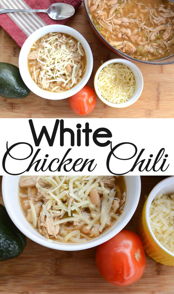 White Chicken Chili can be made on the stove or a Slow Cooker. Top your White Chicken Chili avacado, tomato, black olives, and cheese. The Seasoned Homemaker