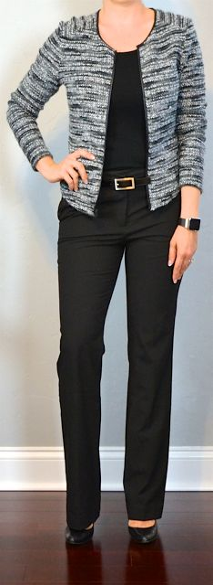 outfit post: boucle jacket, black tank, black suit pants, black pumps | Outfit Posts