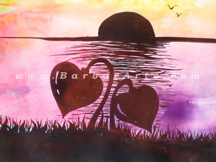 Que creció en la orilla. Pintura con tinta y pintura encáustica. 2014 / What grew up on the shore. Painting with ink and encaustic painting. 2014  #hechoamano #pintura #corazon #energia #handmade #encausticpainting #hearts