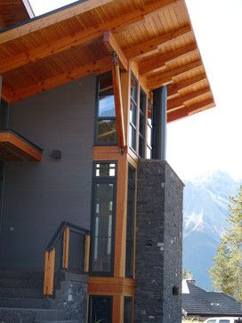 Dark Gray With Cedar Exterior Design Ideas Pictures