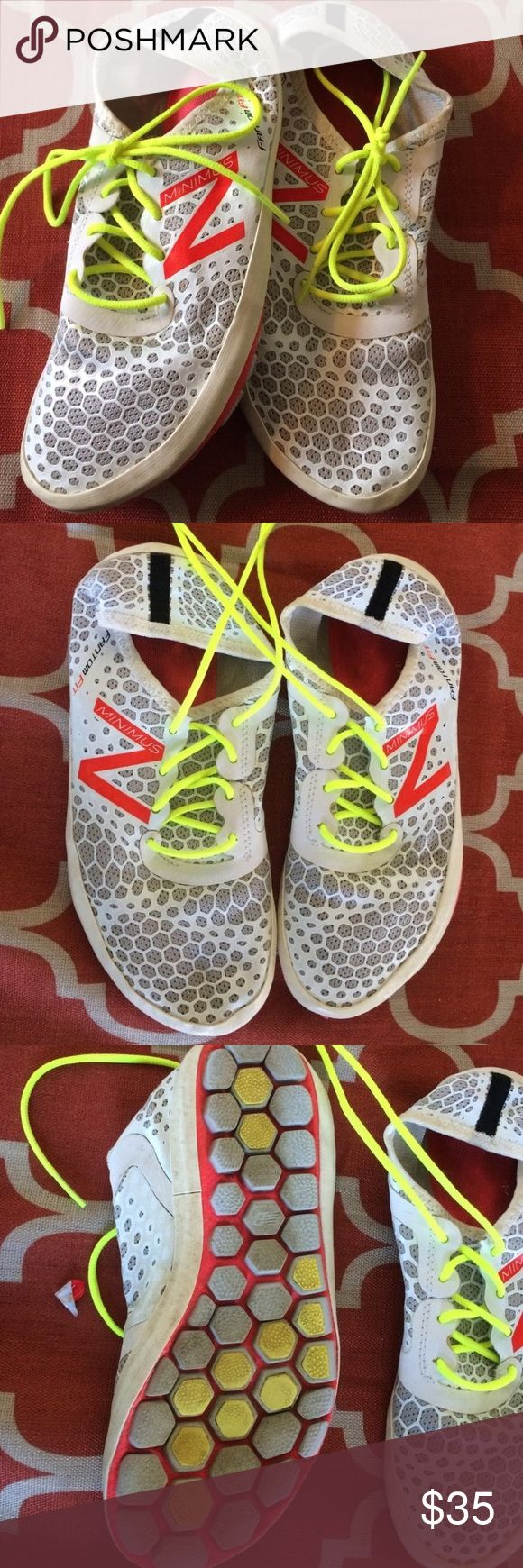 New Balance Minimus Fantom Fit Shoes Worn less than a handful of times, in excellent condition!  Size 8, white with bright color accents. Bundle and save!! New Balance Shoes