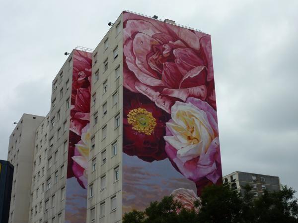 Fresque des Roses, Lyon 8e, Sylviane Blanchoz-Rhône.