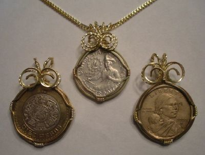 DIY wire wrapped coin pendants