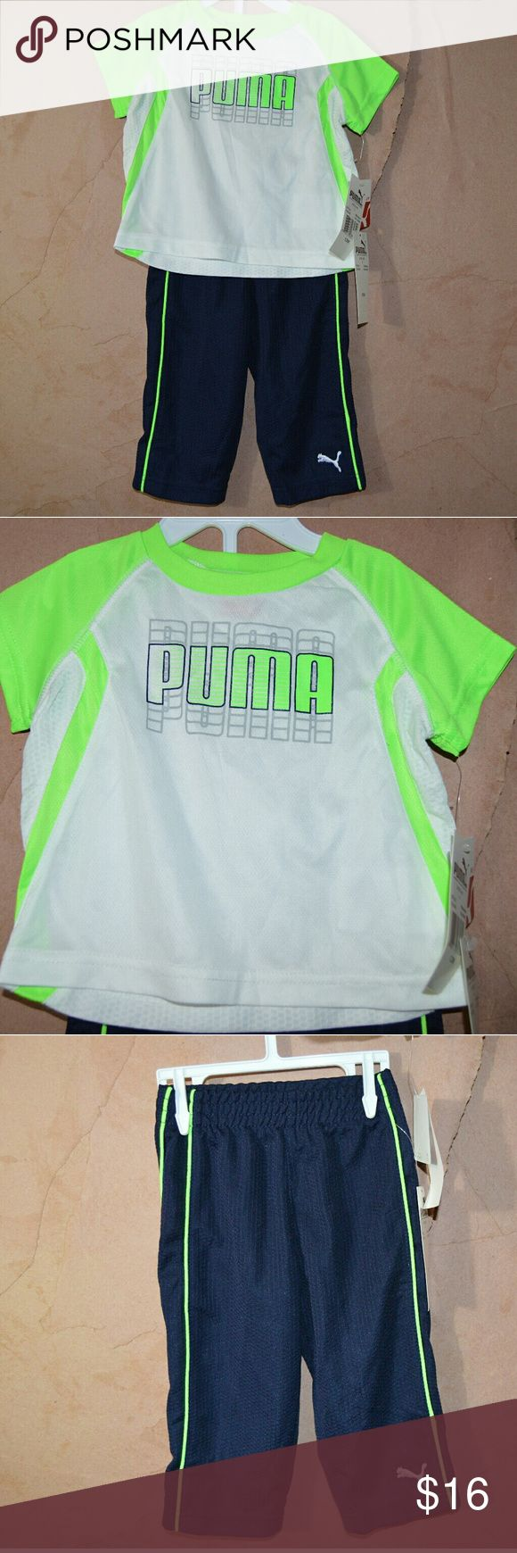 Puma neon green outfit nwt pants tee. 12m PUMA Very stretchy material. Nwt. Hanger not included. Puma Matching Sets