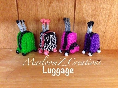 Rainbow Loom LUGGAGE / SUITCASE Charm. Designed and loomed by MarloomZ Creations. Click photo for YouTube tutorial. 06/25/14.
