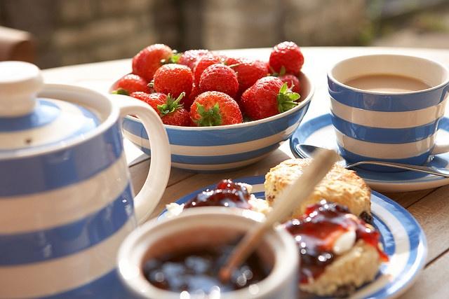 Cornishware tea time. Just makes me think of a Rosamund Pilcher novel.