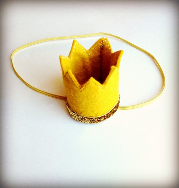Gold Crown Felt Mini Crown Headband by littleblueolive on Etsy, $12.00