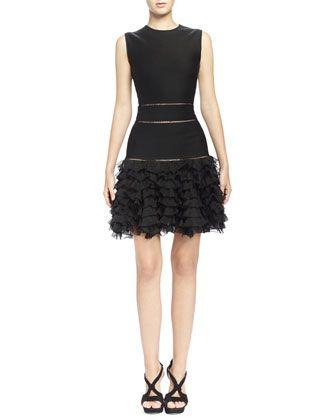 Sleeveless Ruffle-Bottom Mini Dress, Black by Alexander McQueen at Bergdorf Goodman.