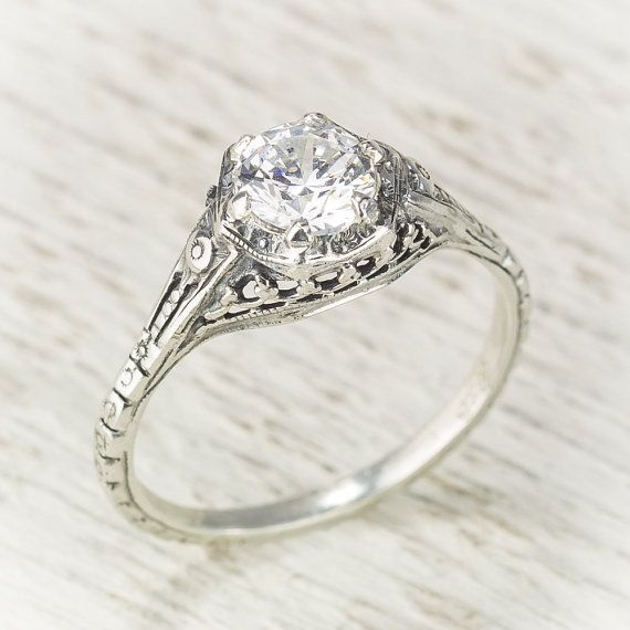 Filigree Antique Vintage Engagement Diamond Ring by spexton, $3450.00