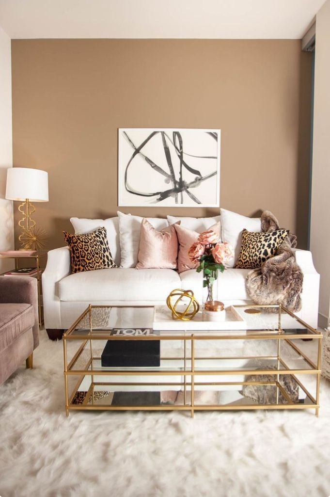 Beige Colour Of Walls White Sofa And Gold Accessories In This