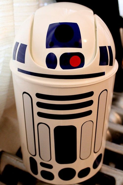 Cool hamper idea! White garbage can plus colored duct tape for the shapes.. so cute, not sure I would be able to put trash in him . though....would make a cute toy storage bin in the boys space theme room :) - #space #kidsrooms #playrooms #nurseries #spacetheme #DIY #starwars #R2D2
