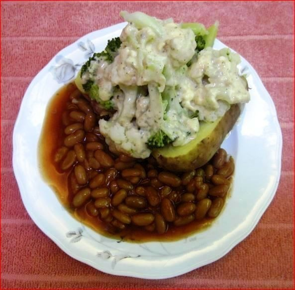 Jacket Potato with Brocolli and Cauliflower Cheese Sauce and Beans