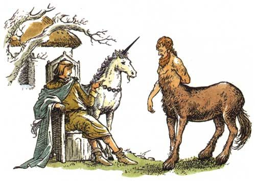 cs lewis's drawings from narnia   King Tirian , Jewel and Roonwit