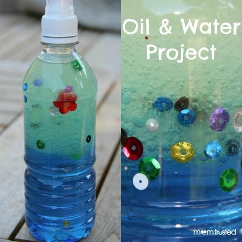 Oil and water play. This easy play idea is also a little funny science project and all the things you need are probably easy to find at home.