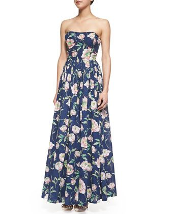 Spring+Bloom+Strapless+Floral-Print+Maxi+Dress,+Prince+Blue+by+French+Connection+at+Neiman+Marcus.