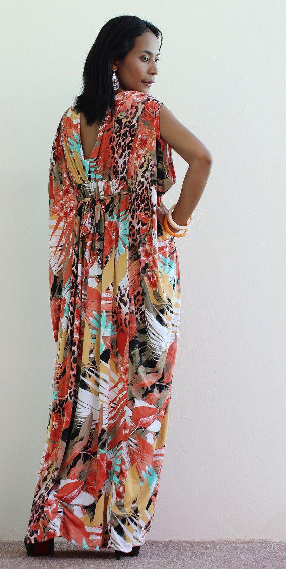 Long Kimono Maxi Dress  African Print Dress  Elegant by Nuichan, $58.00