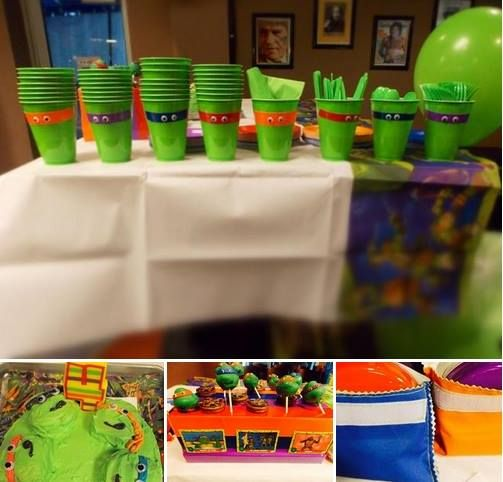Teenage Mutant Ninja Turtle theme by Events Come True. Made: cake, TMNT cups with duck tape for masks & glued eyes, sewed resuable snack bags & snack containers, sewed favor bags with duck tape masks & handles, banner, resuable mugs with Turtles, TMNT invitations. Halegrapx masks printed on sticker paper, applied to green latex balloons. Chris the Cake Lady made TMNT cake pops
