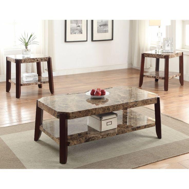Benzara Modish Coffee Table, Faux Marble & Brown