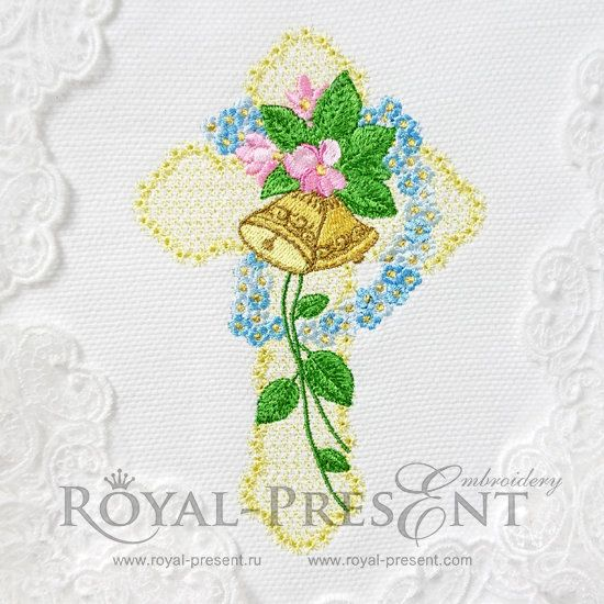 Machine Embroidery Design Easter Religious Cross with Flowers - 3 sizes