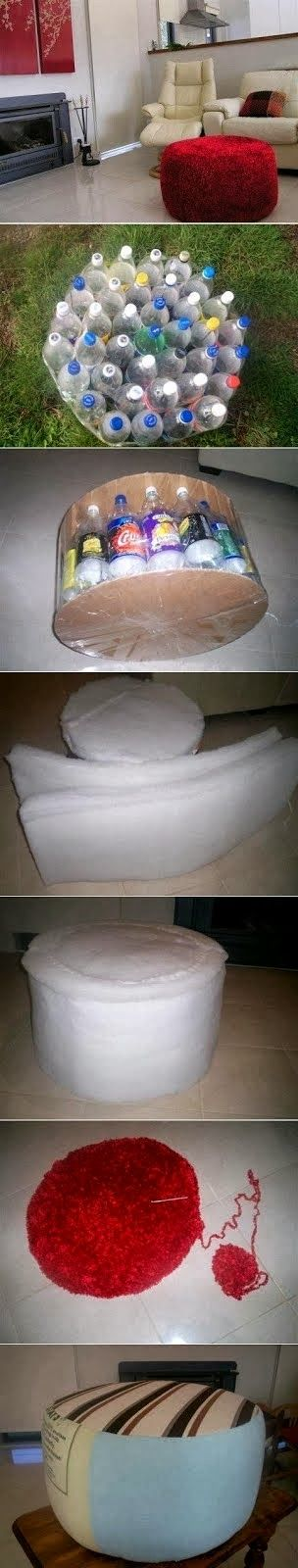 Make an Ottoman By Recycling Plastic Bottle