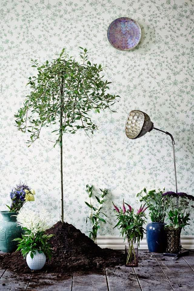 Botanic Garden designed by Danish wallpaper and fabric designer Helene Blanche FOR Scandinavian paint company Flügger