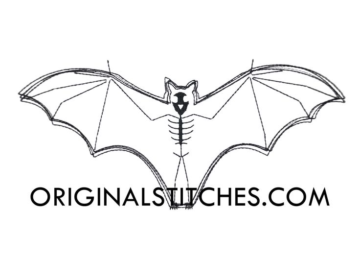 Bat Skeleton Quick Stitch Embroidery Design - Original Stitches