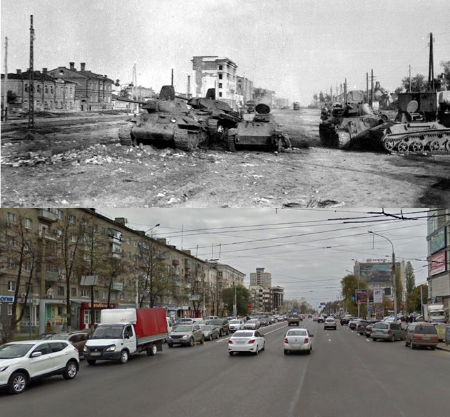 Then and Now WWII. Soviet T-34 and T-60 tanks lie abandoned on 20 Years of October Street, Voronezh, autumn 1942. Positive this is the same spot.