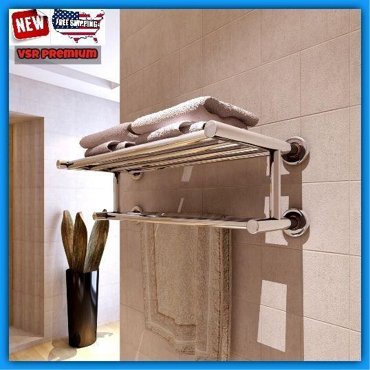 Bath Hotel Towel Rack Chrome Bar Tubes Modern Hanger Wall Mount Steel Organizer #VSR