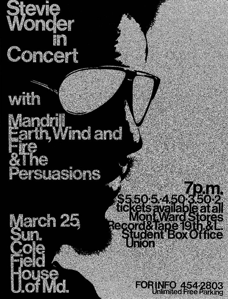 1973 Stevie Wonder Concert Poster with Mandrill, Earth, Wind and Fire & The Persuasions