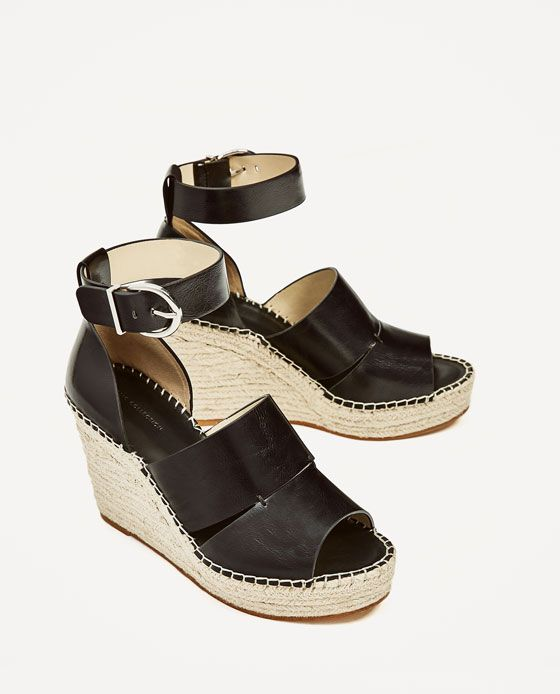 ZARA - WOMAN - JUTE WEDGES WITH ANKLE STRAP