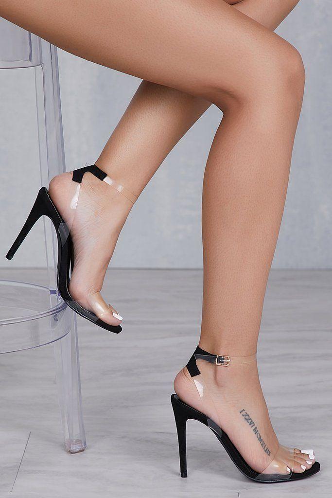 Clear strap heels, Black strap heels, Heels