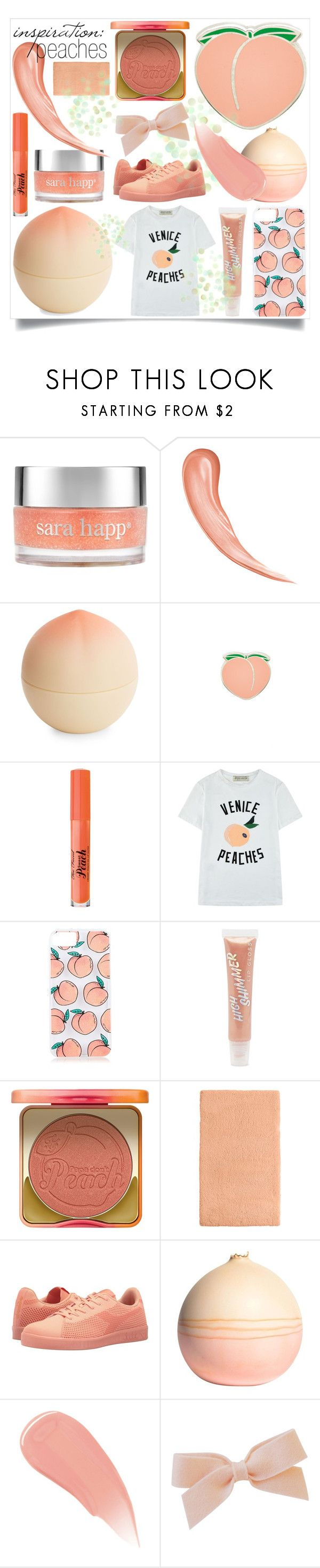 """inspiration: peaches - 20170707"" by catharines-closet ❤ liked on Polyvore featuring Sara Happ, Tony Moly, PINTRILL, Too Faced Cosmetics, Être Cécile, Skinnydip, Forever 21, Martha Stewart, Diadora and Elyse Graham"