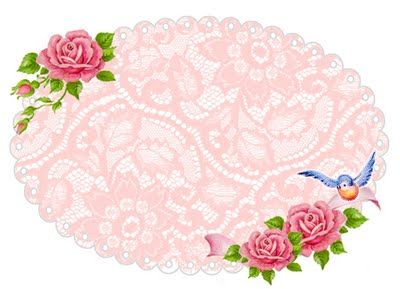 """Pink lace oval with scalloped edge with bird & roses.  Free to use ephemera for diy crafting. Find this & so much more from the generous """"Shaby Rose""""."""