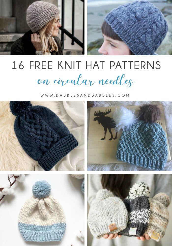 16 Free Knit Hat Patterns On Circular Needles Dabbles Babbles Knitting Patterns Free Hats Hat Knitting Patterns Baby Hats Knitting