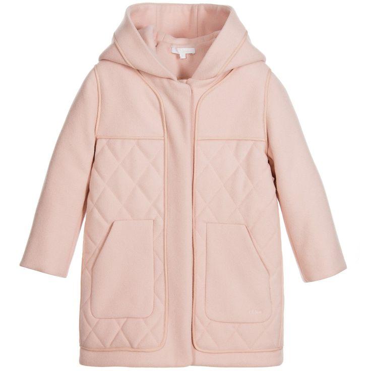 Chloé Girls Pink Wool Duffle Coat at Childrensalon.com