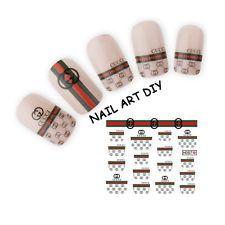 Nail Art Water Transfer Stickers-Adesivi per French e Ricostruzione con Gucci!!