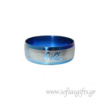 Ανδρικό δαχτυλίδι metal blue δράκος
