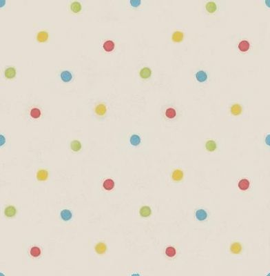 Dotty (DL30750) - Albany Wallpapers - A fun kids wallcovering with geometric spots. Showing in red, blue, yellow and green on a cream background. Other colours available. Please request a sample for true colour match.