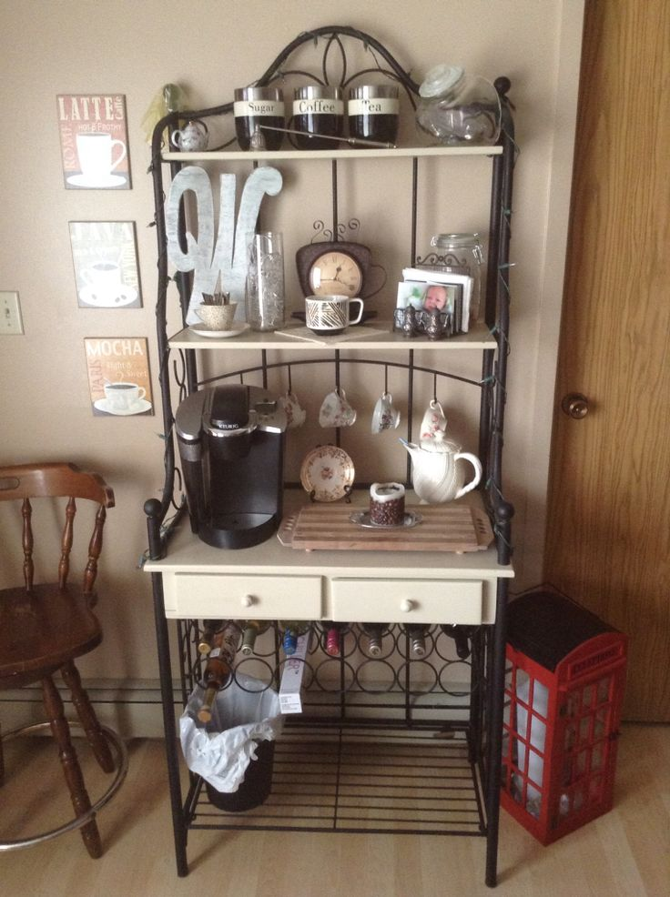 Bakers rack coffee bar