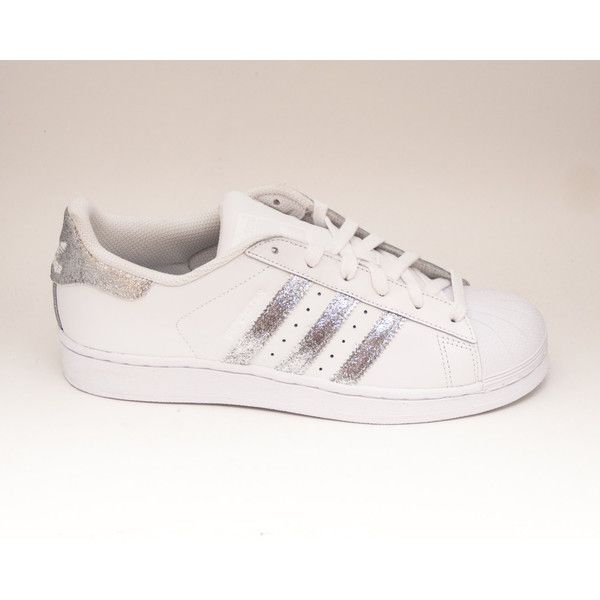 Glitter Silver Adidas Superstars Ii Fashion Sneakers Shoes (\u20ac120) ? liked  on Polyvore