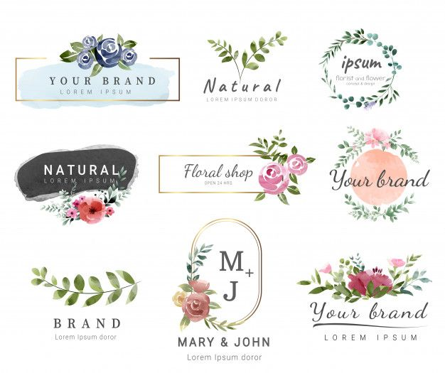 Premium Logo Template Watercolor Style Logo Packaging Design Floral Logo Design Flower Logo