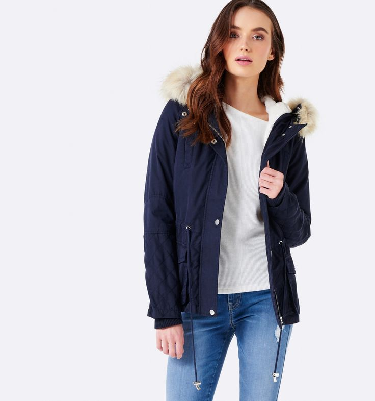 Hanna parka Navy (removable trim and lining) - Womens Fashion   Forever New $139.99